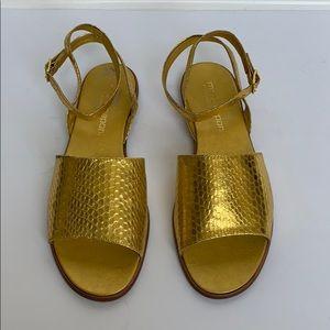 MARIO CAPONI Gold Snakeskin Sandals